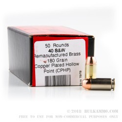 50 Rounds of .40 S&W Ammo by BVAC - 180gr CPHP