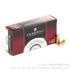 50 Rounds of 9mm Ammo by Federal - 115gr FMJ