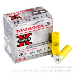 250 Rounds of 20ga Ammo by Winchester Super-X - 1 ounce #8 shot