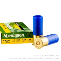 250 Rounds of 12ga Ammy by Remington (Blue Hull) - 1 oz Rifled Slug