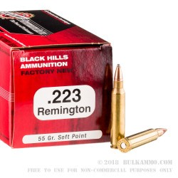 500 Rounds of .223 Rem Ammo by Black Hills Ammunition - 55gr SP