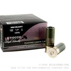 "25 Rounds of 12ga Ammo by Fiocchi - 2-3/4"" 1 1/4 ounce HV #5 shot"