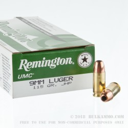 500 Rounds of 9mm Ammo by Remington - 115gr JHP