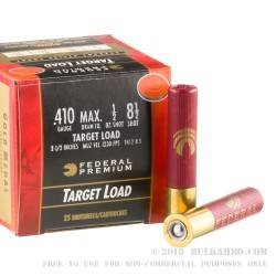 "25 Rounds of .410 Ammo by Federal Gold Medal- 2-1/2"" 1/2 ounce #8-1/2 shot"