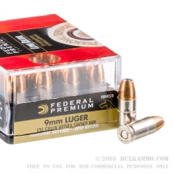 200 Rounds of 9mm Ammo by Federal - 135gr Hyrda-Shok JHP