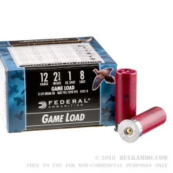 """250 Rounds of 12ga Ammo by Federal Game-Shok - 2-3/4"""" 1 ounce #8 shot"""