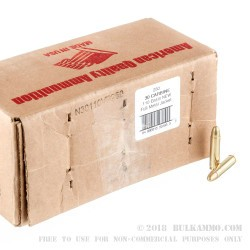 250 Rounds of .30 Carbine Ammo by American Quality Ammunition - 110gr FMJ