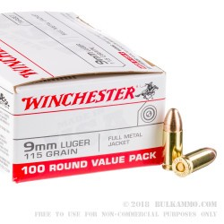 100 Rounds of 9mm Ammo by Winchester - 115gr FMJ
