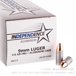 500 Rounds of 9mm Ammo by Independence (Aluminum) - 115gr FMJ