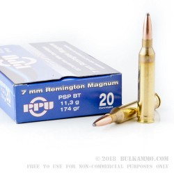 20 Rounds of 7mm Rem Mag Ammo by Prvi Partizan - 174gr PSPBT