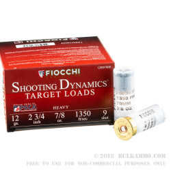 250 Rounds of 12ga Ammo by Fiocchi - 7/8 ounce #9 shot