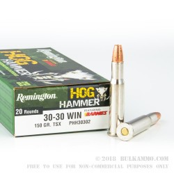 20 Rounds of 30-30 Win Ammo by Remington Hog Hammer - 150gr TSX