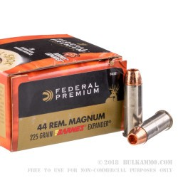 20 Rounds of .44 Mag Ammo by Federal Vital-Shok - 225gr Barnes Expander SCHP