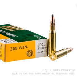 20 Rounds of .308 Win Ammo by Sellier & Bellot - 180gr SPCE