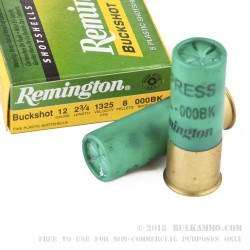 250 Rounds of 12ga Ammo by Remington Express - 8 Pellet 000 Buck