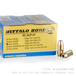 20 Rounds of .45 ACP + P Ammo by Buffalo Bore - 230gr JHP