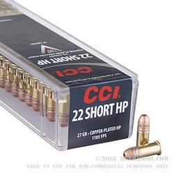 500 Rounds of .22 Short Ammo by CCI - 27 gr CPCHP HV