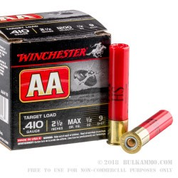 250 Rounds of .410 Ammo by Winchester AA Target - 1/2 ounce #9 shot