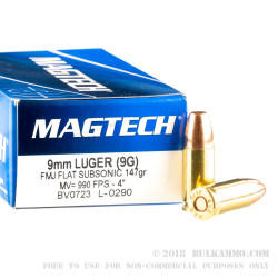 50 Rounds of 9mm Subsonic Ammo by Magtech - 147gr FMJ