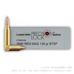 20 Rounds of 7mm Rem Mag Ammo by PMC - 139gr SPBT Interlock
