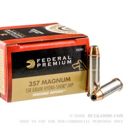 500  Rounds of .357 Mag Ammo by Federal Premium - 158gr Hydra-Shok JHP