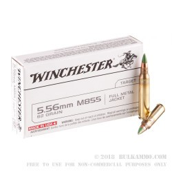 1000 Rounds of 5.56x45 Ammo by Winchester - 62gr FMJ