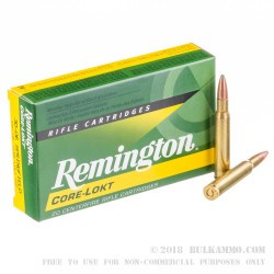 20 Rounds of 30-06 Springfield Ammo by Remington - 150gr PSP
