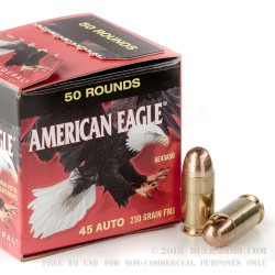 50 Rounds of .45 ACP Ammo by Federal American Eagle - 230gr FMJ (Trayless)