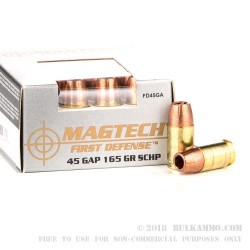 20 Rounds of .45 GAP Ammo by Magtech First Defense - 165gr SCHP