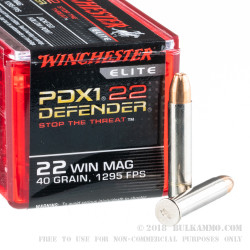 50 Rounds of .22 WMR Ammo by Winchester Supreme Elite - 40gr JHP