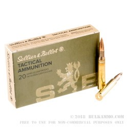 20 Rounds of 30-06 Springfield M1 Garand Ammo by Sellier & Bellot - 150gr M2 Ball FMJ