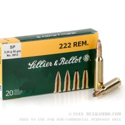20 Rounds of .222 Rem Ammo by Sellier & Bellot - 50gr SP