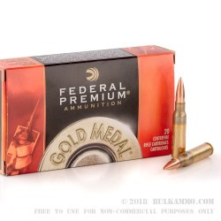 20 Rounds of 7.62x51mm Ammo by Federal - 175gr HPBT