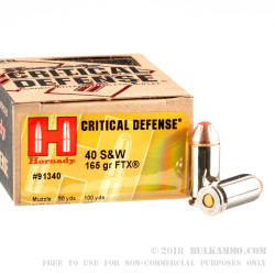 200 Rounds of .40 S&W Ammo by Hornady Critical Defense - 165gr JHP FTX