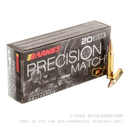 20 Rounds of 5.56x45 Ammo by Barnes Precision Match - 69gr OTM