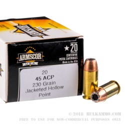 20 Rounds of .45 ACP Ammo by Armscor USA - 230gr JHP