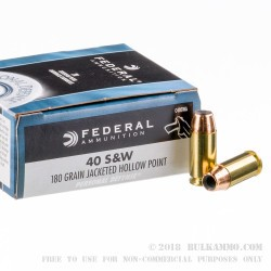 500  Rounds of .40 S&W Ammo by Federal - 180gr JHP