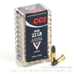 50 Rounds of .22 LR Ammo by CCI - 40gr LFN