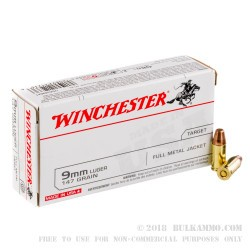 500 Rounds of 9mm Ammo by Winchester W - 147gr FMJ