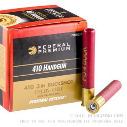 200 Rounds of .410 Ammo by Federal Self Defense -  3in - #4 Buckshot