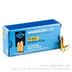 1000 Rounds of .25 ACP Ammo by Prvi Partizan - 50gr FMJ