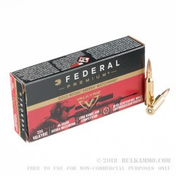 200 Rounds of .224 Valkyrie Ammo by Federal - 90gr Gold Medal Sierra MatchKing HPBT