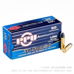 500  Rounds of .38 Spl Ammo by Prvi Partizan - 158gr LRN