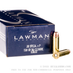 50 Rounds of .38 Spl Ammo by Speer Lawman Clean-Fire - 158gr. +P TMJ Ammo
