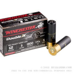 """10 Rounds of 12ga 3"""" Ammo by Winchester Double X Turkey Load - 1 3/4 ounce #5 shot"""