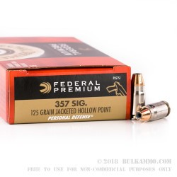 50 Rounds of .357 SIG Ammo by Federal - 125gr JHP