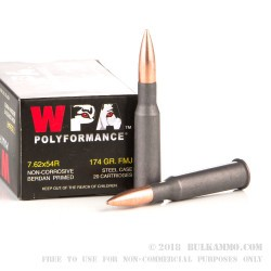 20 Rounds of 7.62x54r Ammo by Wolf WPA Polyformance - 174gr FMJ