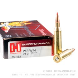 20 Rounds of .243 Win Ammo by Hornady - 95gr SST