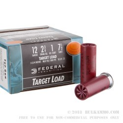 250 Rounds of 12ga Ammo by Federal - 1 ounce #7 1/2 shot