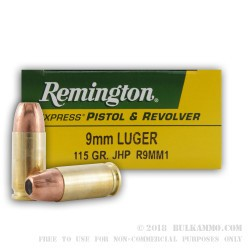 500  Rounds of 9mm Ammo by Remington Express - 115gr JHP